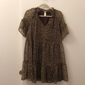 H&M Dresses - HM Silk Brown Floral Dress